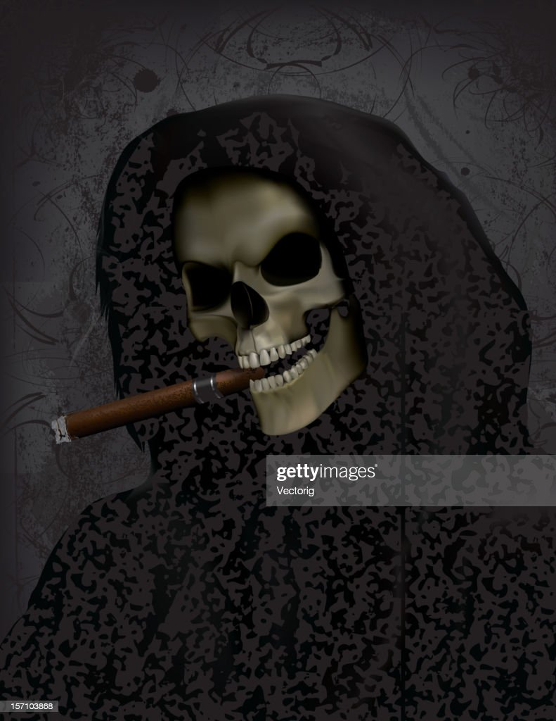 Grim Reaper With Cigar : Vector Art