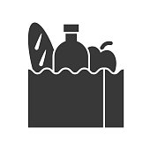 grocery bag with bread, water bottle and apple, food and beverage set, glyph design icon
