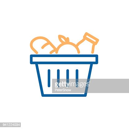 Grocery basket with bread, apple and milk. Vector trendy thin line icon illustration design for food groceries market shopping. : stock vector
