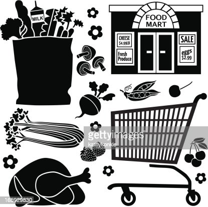 Grocery Store Icons Vector Art | Getty Images