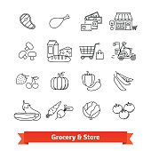 Grocery store thin line art icons set. Food selling, payment and delivery. Linear style symbols isolated on white.