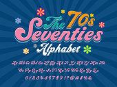 A groovy hippie style alphabet design