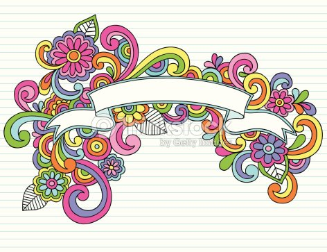 groovy psychedelic notebook doodle scroll banner vector art thinkstock
