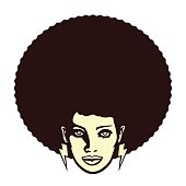Funky cool african woman face with afro hairstyle  and lightning bolt earrings vector illustration