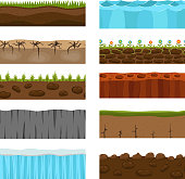 Illustration of cross section of ground with grass isolated on white. Agriculture country gardening ground slices piece nature cross outdoor. Meadow ecology underground ground slices vector.