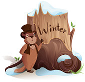 Groundhog Day. Marmot announces early arrival of winter. Isolated on white vector cartoon illustration