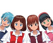 group anime girl manga vector illustration eps 10