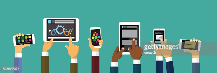 Group Hands Holding Smart Cell Phone Tablet Computer, Technology Concept : Vector Art
