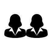 Group Icon Vector Business People Team Management Persons Avatar in Flat Color Glyph Pictogram illustration