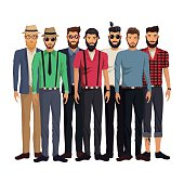 group men style hispter bearded fashionable vector illustration eps 10