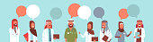 group of arabic doctors team colorful chat bubble treatment communication concept arab medical hospital workers speech conversation portrait horizontal vector illustration