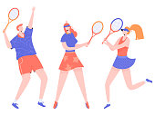 Group of athletes tennis players. One man and two women. Vector characters isolated on white background.