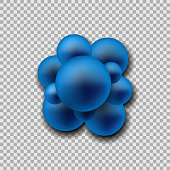 Group of atoms forming molecule. Staphylococcus Bacteria close up. isolated on transparent background. Vector illustration. Eps 10.