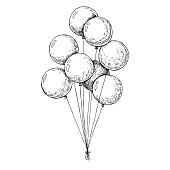 Group of balloons on a string. Hand drawn, isolated on a white background. Vector illustration