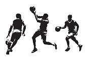 Group of basketball players, set of isolated vector silhouettes. Team sport, active people
