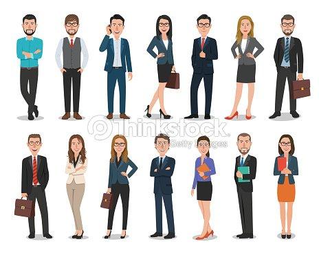 사업가 비즈니스 여성 캐릭터 사무실에서 작업의 그룹입니다. 흰색 배경에 고립 : 벡터 아트