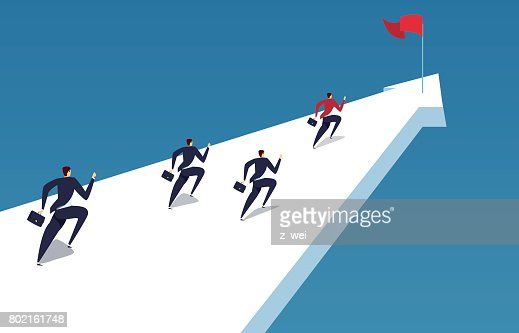 A group of businessmen running to the finish line : stock vector