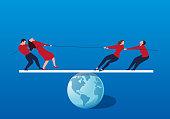 A group of businessmen tug of war on the balance bar