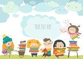 Group of cartoon children reading books. Vector illustration