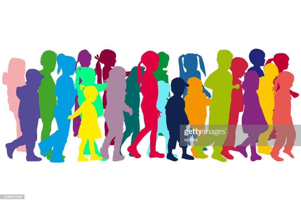 Group of children's silhouettes. : Vectorkunst