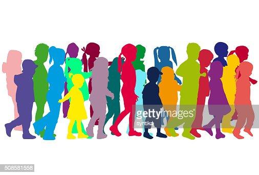 Gruppe von Kinder-Silhouetten. : Vektorgrafik