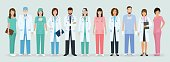 Group of doctors and nurses standing together. Medical people. Hospital staff. Flat style vector illustration.