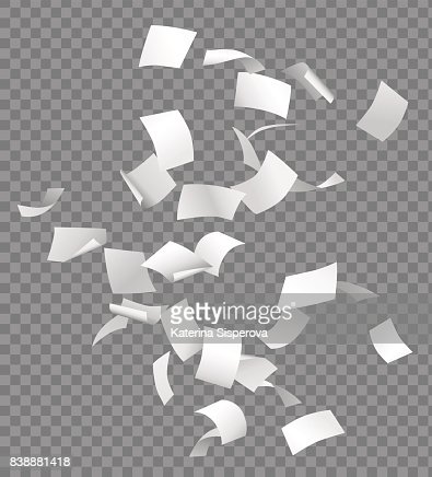 Group of flying or falling vector white papers isolated on transparent background : stock vector