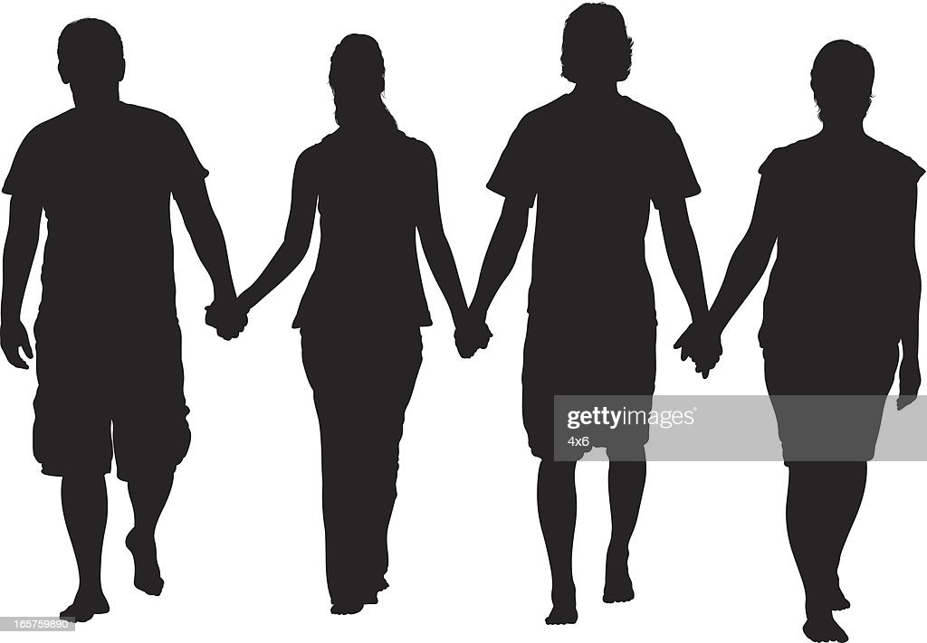 Group Of Friends Holding Hands Silhouette Vector Art ...