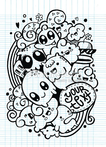 Group of happy doodle monster drawing style vector art for Doodle art monster