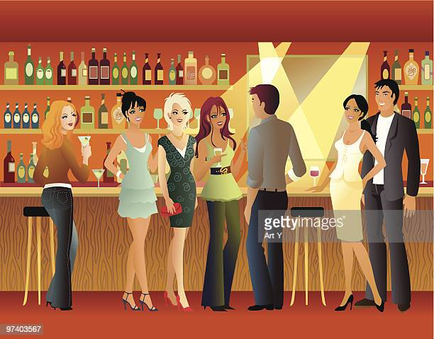 Group of Happy People Standing at Bar