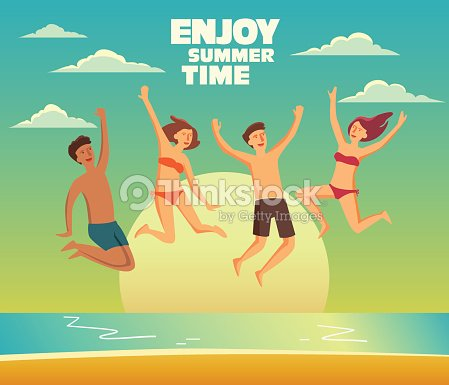 Group of happy, young people jumping on a sandy beach