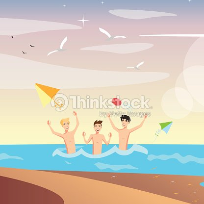 Group of happy young people on beach.
