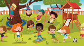 Group of kids playing game on a public park or school playground with with swings, slides, skate, ball, crayons, rope, playing catch-up game. Happy childhood. Modern vector illustration. Clipart