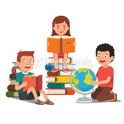 group of kids studying and learning together vector art thinkstock