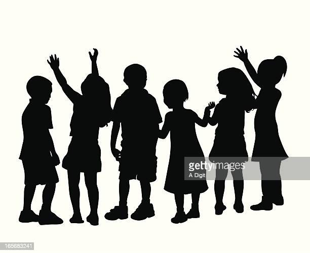 Group Of Kids Vector Silhouette