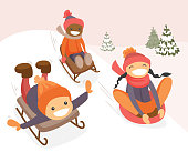 Diverse group of multicultural boys and girl sliding down on rubber tubes and sledge in winter park. Asian, African and Caucasian kids enjoying a sleigh ride. Vector isolated cartoon illustration.