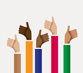 group of multicultural people thumbs up, vector illustration, group of multicultural people thumbs up, vector illustration