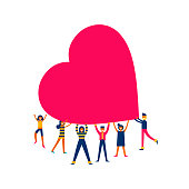 Group of people holding giant heart, love makes the change concept illustration in modern flat art style. Ideal for charity project, donation or valentines day. EPS 10 vector.