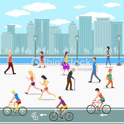 Group of people promenade on city river street. Flat illustration
