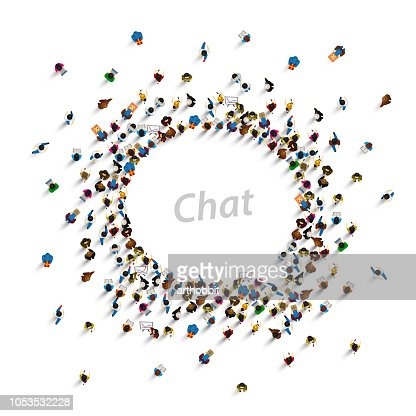 A group of people shaped as a chat icon, isolated on white background. Vector illustration : stock vector