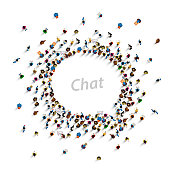 A group of people shaped as a chat icon, isolated on white background. Vector illustration