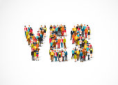 "Group of people standing in a word Yes. Vector illustration on white background. The concept of consent.""n"