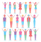 group of persons with poses differents vector illustration design