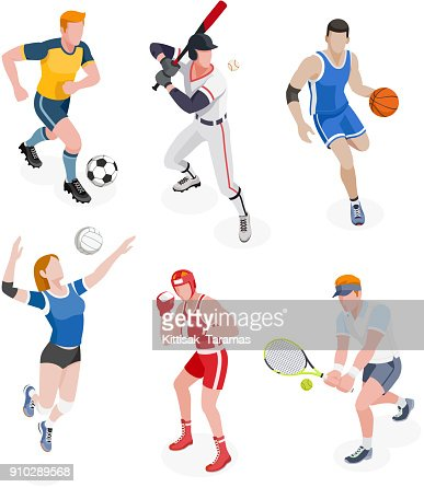 Group of sports people. : stock vector