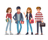 Group of young students. Flat style vector illustration isolated on white background.