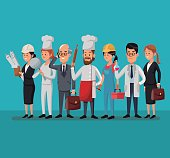 group people various professions labor day vector illustration