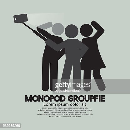 Groupfie Symbol, A Group Selfie Using Monopod : Vector Art