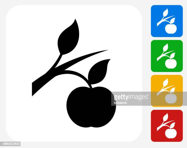 Growing Apple Icon Flat Graphic Design