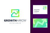 Growing chart sign and business card template. Vector illustration in modern gradient style.