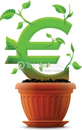 Growing Euro Symbol Like Plant With Leaves In Flower Pot Vector Art